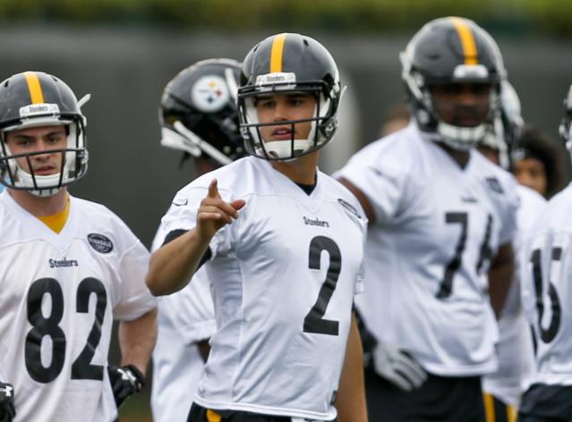 Pittsburgh Steelers quarterback Mason Rudolph (2) during their NFL football rookie mini camp, Friday, May 11, 2018, in Pittsburgh. (AP Photo/Keith Srakocic)