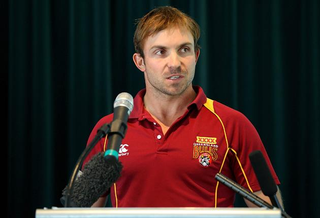 Queensland Bulls player Chris Hartley speaks during the State Cricket Awards at Blundstone Arena on March 20, 2013 in Hobart, Australia.  (Photo by Robert Prezioso/Getty Images)