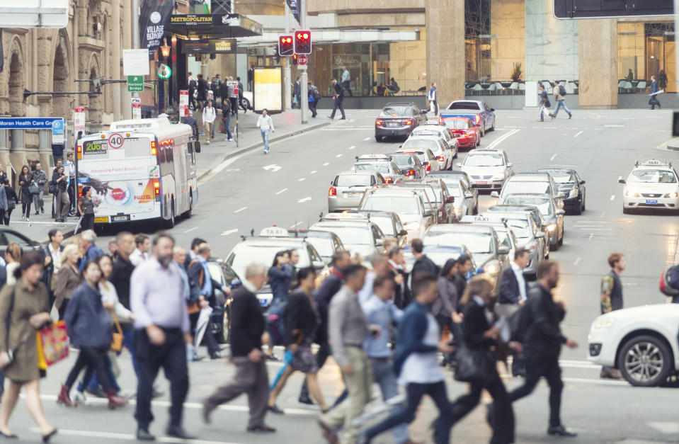 Pictured: Australian workers in busy city. Image: Getty