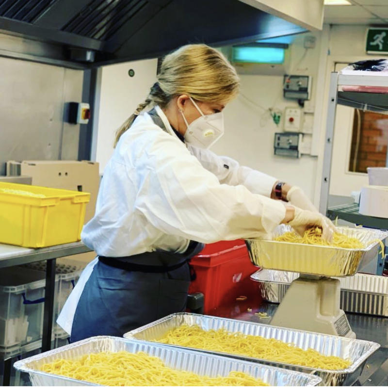 The royal helped in the kitchens for NHS workers