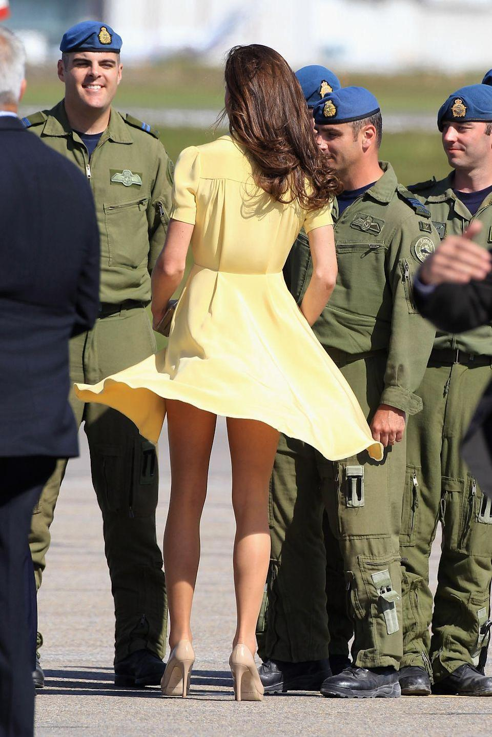 <p>One month before they were married in 2011, Prince Willam and Kate were touring North America. After stepping off the plane in Canada, Kate suffered a wardrobe malfunction.</p>