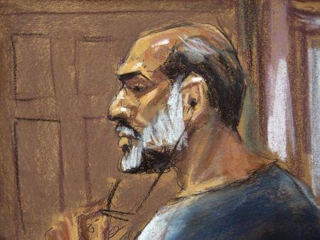 An artist sketch shows Suleiman Abu Ghaith, a militant who appeared in videos as a spokesman for al Qaeda after the September 11, 2001 attacks, appearing at the U.S. District Court in Manhattan