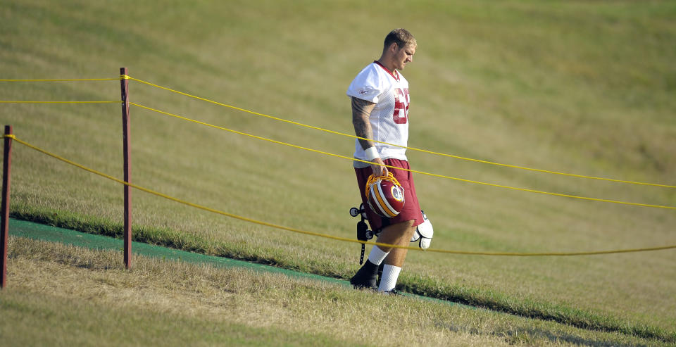 Former NFL offensive lineman Clint Oldenburg, seen here during Washington training camp in 2012, is now a producer with Electronic Arts. (Photo by John McDonnell/The Washington Post via Getty Images)