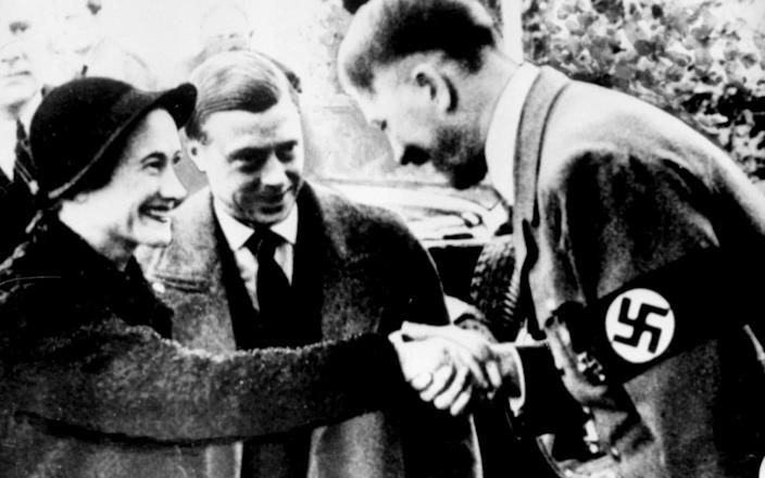 The Duke and Duchess of Windsor during their controversial meeting with German leader Adolf Hitler in Munich.