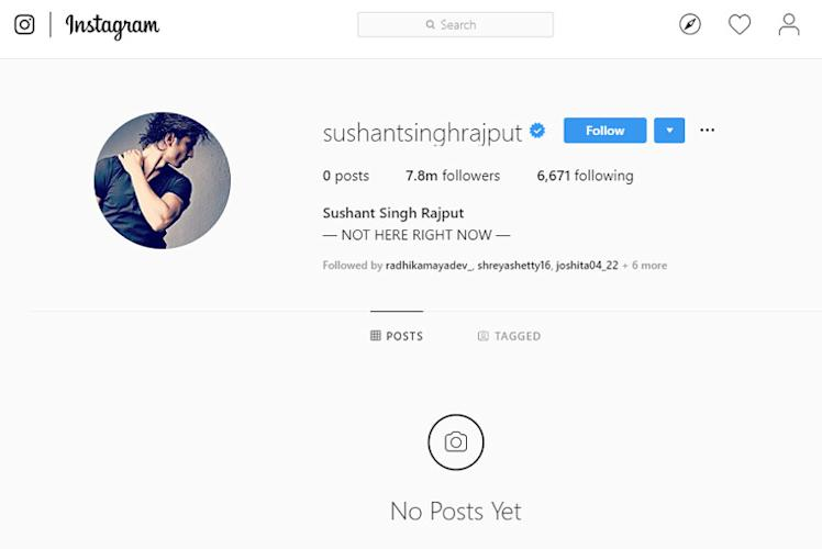 Sushant Singh Rajput has deleted all images from Instagram