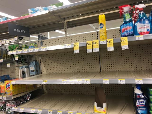 The shelves that hold hand sanitizer and antibacterial wipes are empty...everywhere. (Kavita Varma-White)