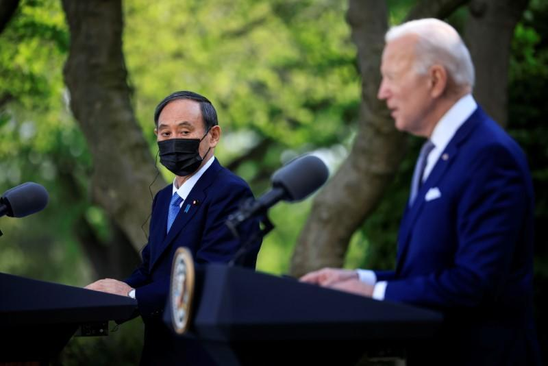 U.S. President Biden jolds joint news conference with Japan's Prime Minister Suga at the White House in Washington