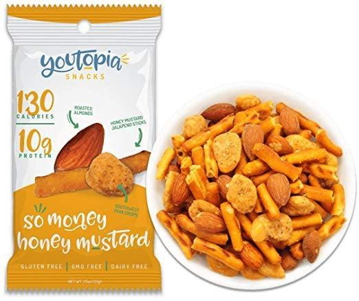 <p>You'll want to munch on these honey mustard <span>Youtopia Snacks</span> ($28 for 10) all day long.</p>