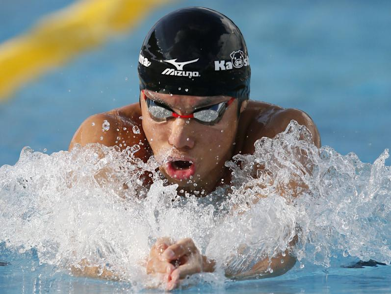 Japan's Akihito Yamaguchi competes on his way to a new world record in the men's 200 meters breaststroke final at the national sports event in Gifu, central Japan, Saturday, Sept. 15, 2012. Yamaguchi, 18, set the new world record of 2 minutes, 07.01 seconds in the event, according to local reports Saturday. (AP Photo/Kyodo News) JAPAN OUT, MANDATORY CREDIT, NO LICENSING IN CHINA, HONG KONG, JAPAN, SOUTH KOREA AND FRANCE
