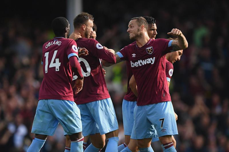 Big win | West Ham ended a run of four Premier League defeats on the bounce with victory at Goodison Park: Stu Forster/Getty Images