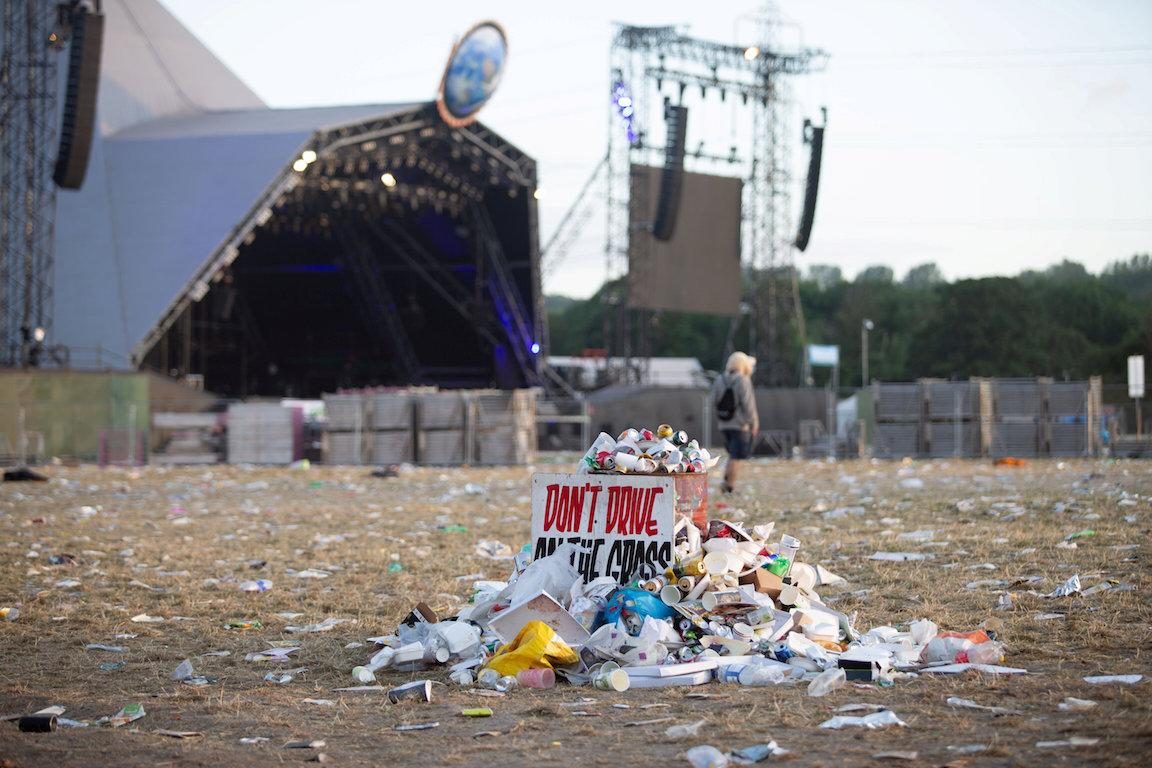A pile of stacked rubbish close to the Pyramid stage at Glastonbury (Picture: SWNS)