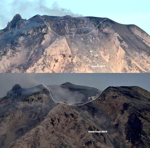 """This undated combo photo released by the Center for Volcanology and Geological Hazard Mitigation (PVMBG) of Indonesian Energy and Mineral Resources Ministry shows the peak of Mount Sinabung in Karo, North Sumatra before, top, and after with a graphic line superimposed on the area of the new crater following its eruption on Monday. Volcanologists say the eruption of the volcano that shot ash 5 kilometers (3 miles) high also """"annihilated"""" the mountain's summit. Text on top of frame reads """"Before Feb. 19, 2018"""" and text on bottom reads """"After Feb. 19, 2018."""" (PVMBG via AP)"""