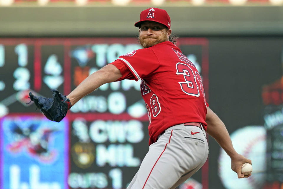 Los Angeles Angels pitcher Alex Cobb winds up duirng the first inning of the team's baseball game against the Minnesota Twins, Friday, July 23, 2021, in Minneapolis. (AP Photo/Jim Mone)