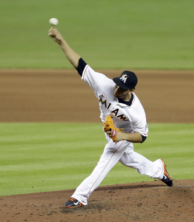 Miami Marlins' Henderson Alvarez pitches to the Detroit Tigers in the fifth inning of an interleague baseball game, Sunday, Sept. 29, 2013, in Miami. (AP Photo/Alan Diaz)