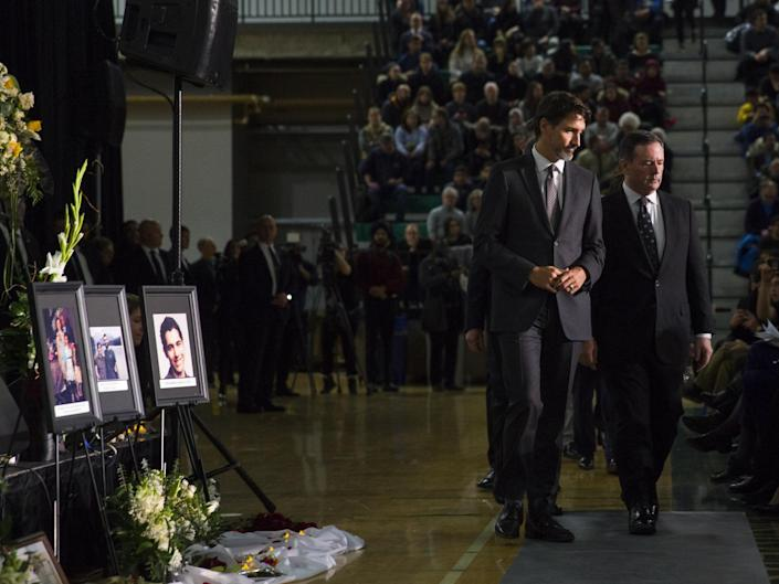 Justin Trudeau, the prime minister of Canada, at a vigil for victims of the Iran plane disaster: AP