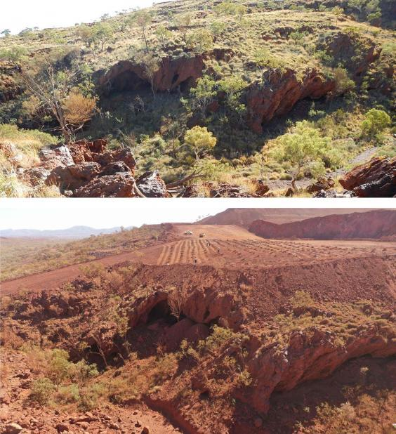 Photos released by the PKKP Aboriginal Corporation show Juukan Gorge in Western Australia on June 2, 2013 (top) and how it was on May 15, 2020, after mining activity but before the blasts which destroyed the ancient caves (PKKP Aboriginal Corporation/AFP)