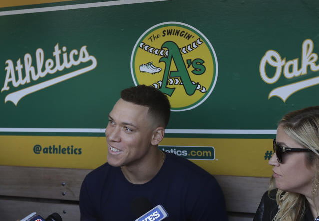 New York Yankees' Aaron Judge speaks to reporters before a baseball game against the Oakland Athletics in Oakland, Calif., Monday, Sept. 3, 2018. (AP Photo/Jeff Chiu)