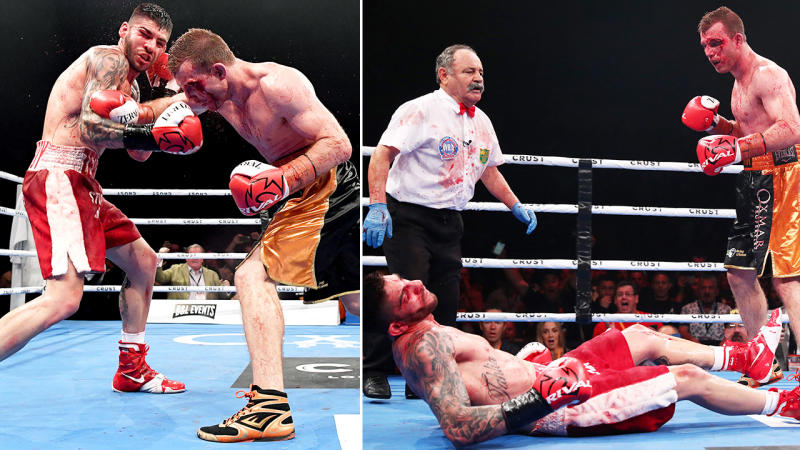 Jeff Horn, pictured here stunning Michael Zerafa in the ninth round of their fight.