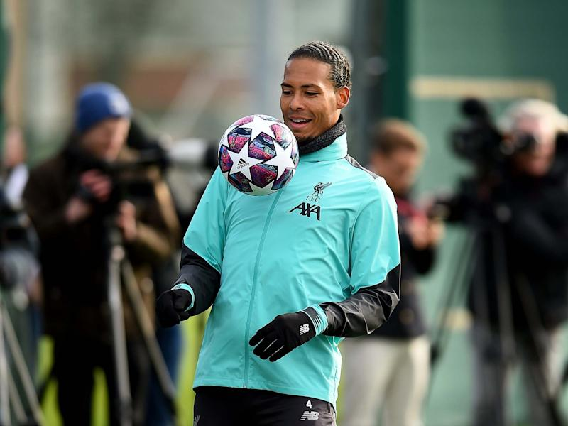 Virgil van Dijk of Liverpool during a training session: Liverpool FC via Getty Images