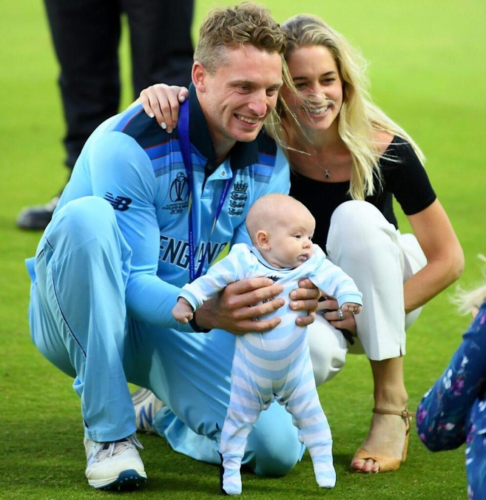 Jos Buttler with wife Louise and daughter Georgia Rose. Photo- Getty