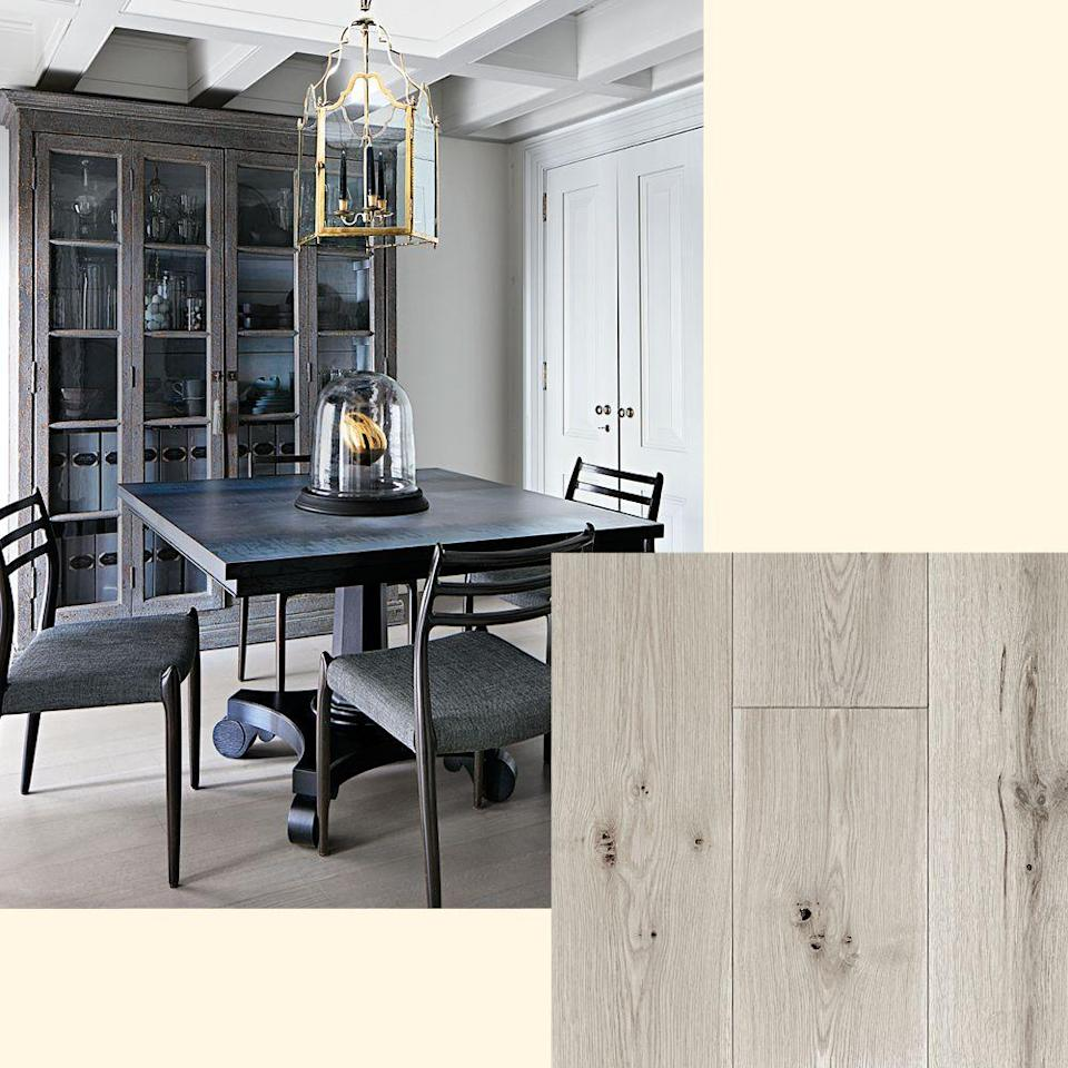 "<p>Bleached and ­custom-stained white-oak flooring stands out in the New York <a href=""https://www.elledecor.com/design-decorate/house-interiors/a25238606/village-townhouse-is-given-new-life/"" rel=""nofollow noopener"" target=""_blank"" data-ylk=""slk:dining room"" class=""link rapid-noclick-resp"">dining room</a> of Eric Pike and ­Stefan Steil. To get the look, try White Oak Center Cut from <a href=""https://thehudsonco.com/"" rel=""nofollow noopener"" target=""_blank"" data-ylk=""slk:thehudsonco.com"" class=""link rapid-noclick-resp"">thehudsonco.com</a>.</p>"