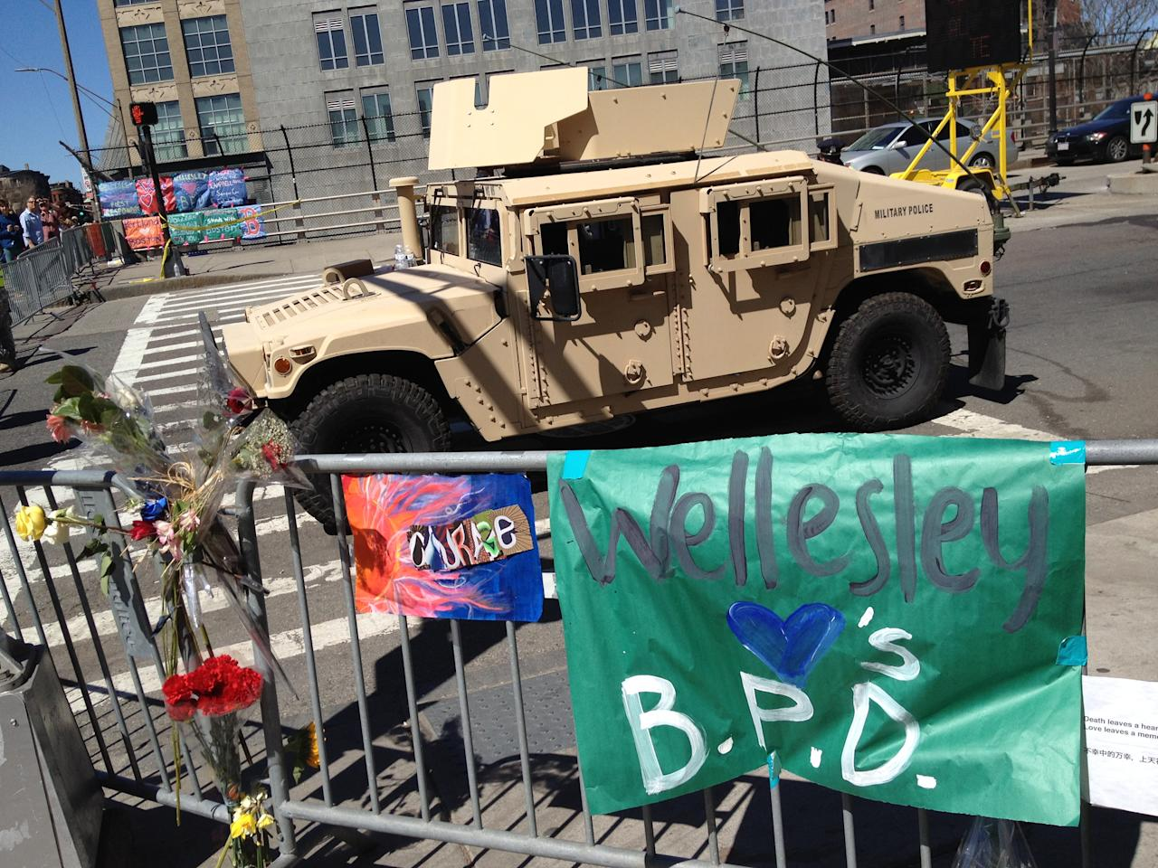 A U.S. military Humvee sits parked inside a barricade west of the marathon bombings site, Boston, April 17, 2013. Credit: Dylan Stableford