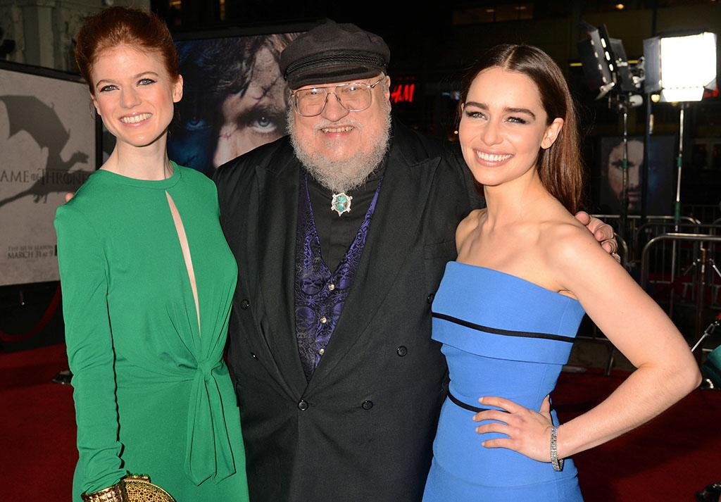 "Rose Leslie, writer George R.R. Martin, and Emilia Clarke arrive at the premiere of HBO's ""Game of Thrones"" Season 3 at TCL Chinese Theatre on March 18, 2013 in Hollywood, California."