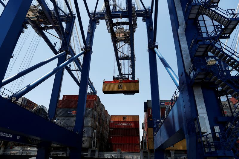 FILE PHOTO: A shipping container is unloaded from a neopanamax vessel at Wando Welch Terminal operated by the South Carolina Ports Authority in Mount Pleasant