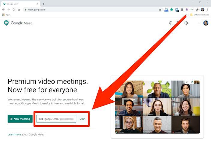 "You can paste the invite code or link into the field on the Google Meet home page. <p class=""copyright"">Dave Johnson/Business Insider</p>"