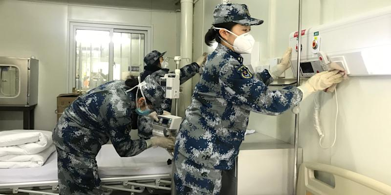 Medical staff test facilities and make the bed at Huoshenshan (Fire God Mountain) Hospital to make final preparations to admit patients infected with the novel coronavirus in Wuhan, central China's Hubei Province, Feb. 3, 2020.