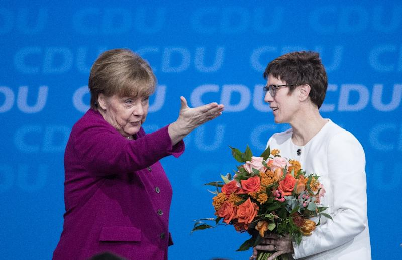 Rather than wait to be pushed out, Merkel may look ultimately to hand over the crown and some people took her choice of Saarland's state leader Annegret Kramp-Karrenbauer as CDU secretary general as a move to anoint an eventual successor (AFP Photo/Stefanie LOOS)