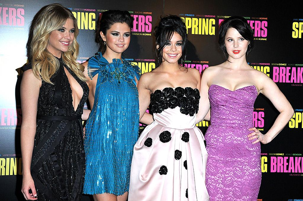 "PARIS, FRANCE - FEBRUARY 18:  (L-R) Ashley Benson, Selena Gomez, Vanessa Hudgens and Rachel Korine attend the ""Spring Breakers"" Paris Premiere at Le Grand Rex on February 18, 2013 in Paris, France.  (Photo by Pascal Le Segretain/Getty Images)"
