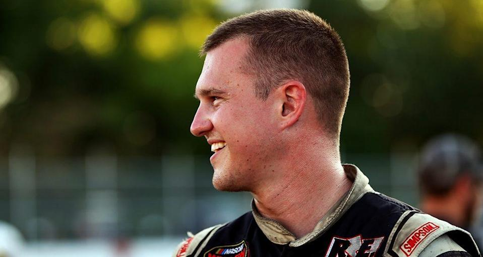HAMPTON, VA - JUNE 23: Ryan Preece, driver of the #6 TS Hauler Chevrolet, smiles after winning the pole award for the NASCAR Whelen Modified Tour WhosYourDriver.org 150 at Langley Speedway on June 23, 2018 in Hampton, Virginia. (Photo by Adam Glanzman/NASCAR)