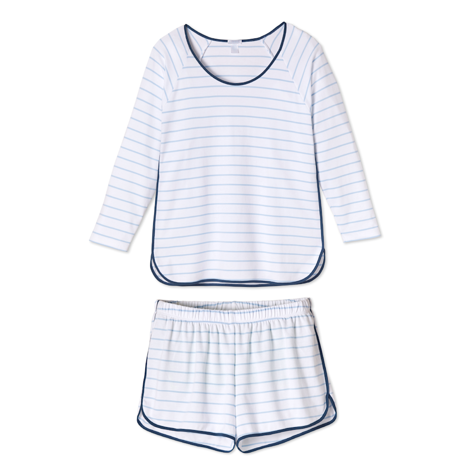 """<p><strong>Lake</strong></p><p>lakepajamas.com</p><p><strong>$88.00</strong></p><p><a href=""""https://lakepajamas.com/collections/new-arrivals/products/marine-long-short-set"""" rel=""""nofollow noopener"""" target=""""_blank"""" data-ylk=""""slk:Shop Now"""" class=""""link rapid-noclick-resp"""">Shop Now</a></p><p>We love Lake Pajamas for their super-soft cotton—you just might wear this set all day long. </p>"""