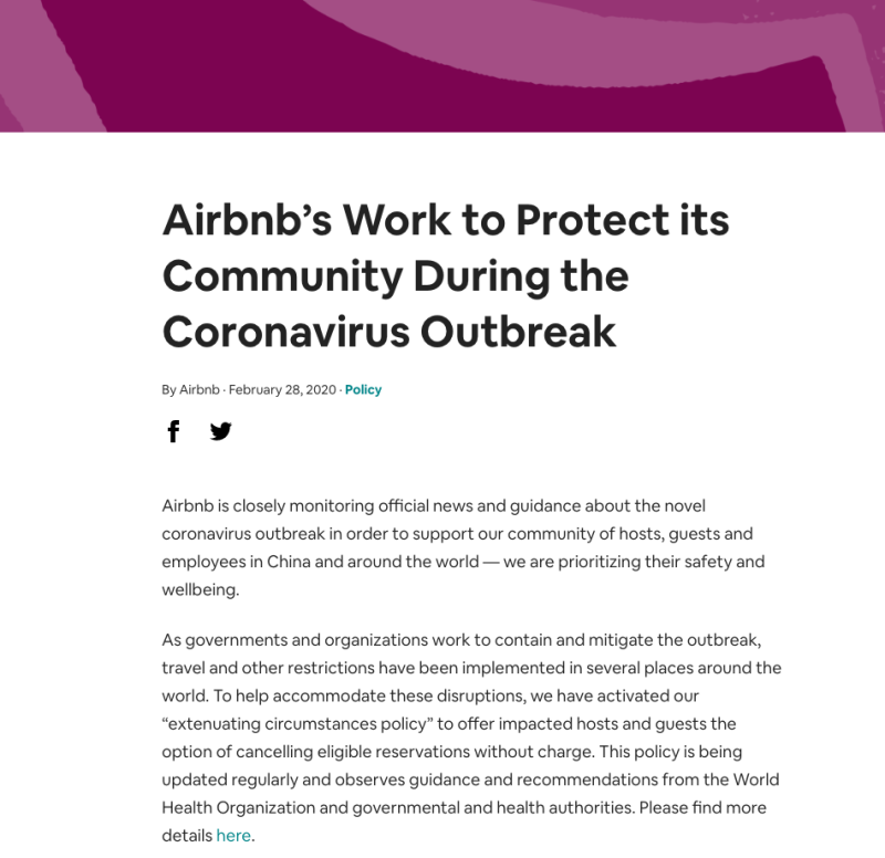 """Airbnb has released an """"extenuating circumstances policy"""" to allow impacted hosts and guests the option of canceling their reservation free of charge — but it won't help everyone. (Screenshot: Airbnb)"""