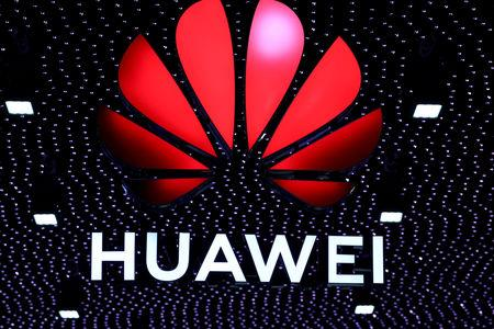 FILE PHOTO: The logo of Huawei is seen at the Mobile World Congress in Barcelona, Spain February 26, 2019. REUTERS/Sergio Perez/File Photo/File Photo/File Photo