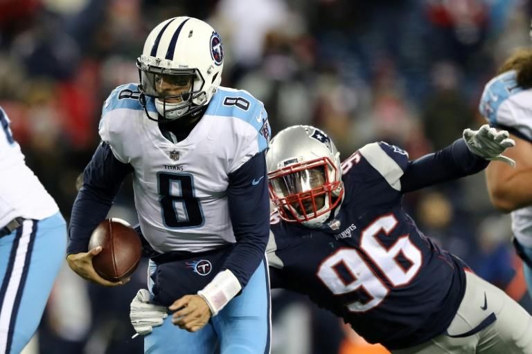The Patriots defense sacked Titans quarterback Marcus Mariota eight times as New England beat Tennessee 35-14