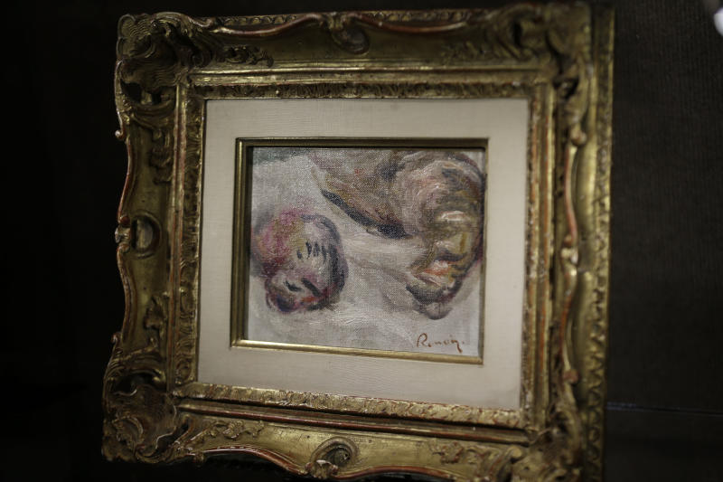 This photo made Friday, Aug. 16, 2013, shows the last painting by Pierre-Auguste Renoir titled Les Bécasses (The Woodcocks), 1919, now on display at Heritage Auctions in Dallas. The painting is part of the French artist's personal archive that will be up for sale in New York City in September. (AP Photo/LM Otero)