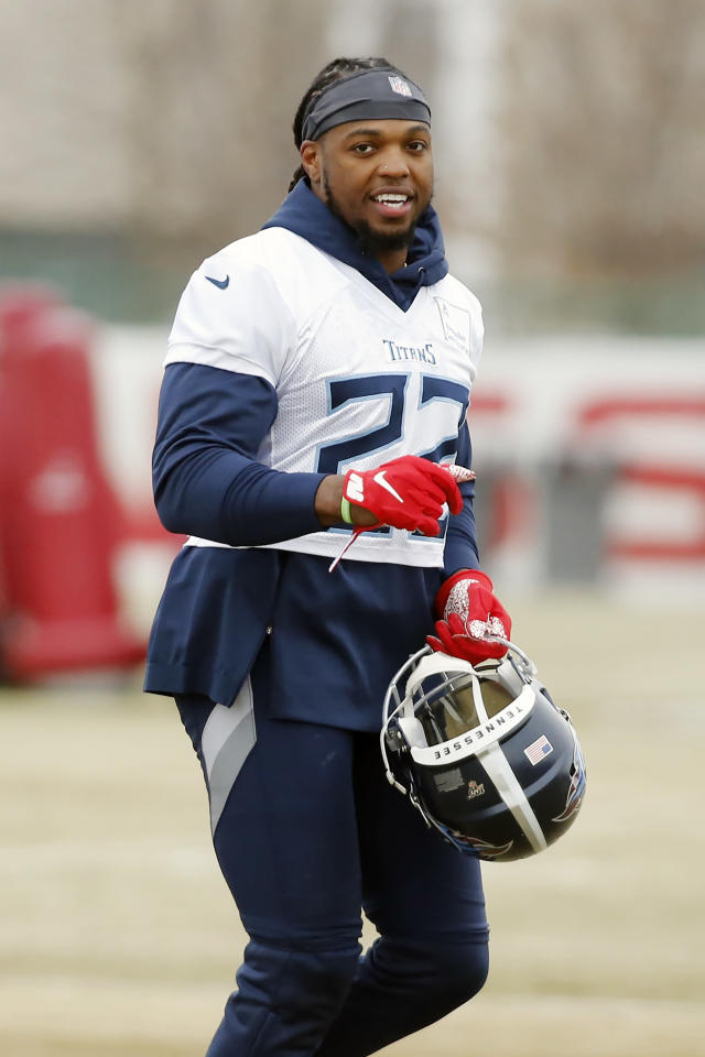 Tennessee Titans running back Derrick Henry runs to a drill during an NFL football practice Friday, Jan. 17, 2020, in Nashville, Tenn. The Titans are scheduled to face the Kansas City Chiefs in the AFC Championship game Sunday. (AP Photo/Mark Humphrey)