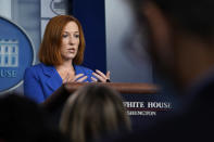 White House press secretary Jen Psaki speaks during the daily briefing at the White House in Washington, Tuesday, Aug. 31, 2021. (AP Photo/Susan Walsh)