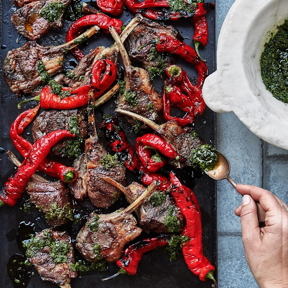 "Lamb chops need enough time on the grill to let the fat render. You'll get flare-ups as the fat melts onto the coals—that's inevitable—but instead of letting the chops char, just move them to a new spot as needed and keep going. This recipe is by Kelly Mariani from <a href=""https://scribewinery.com/"">Scribe Winery</a> in Sonoma, CA. <a href=""https://www.bonappetit.com/recipe/grilled-lamb-chops-and-peppers?mbid=synd_yahoo_rss"">See recipe.</a>"
