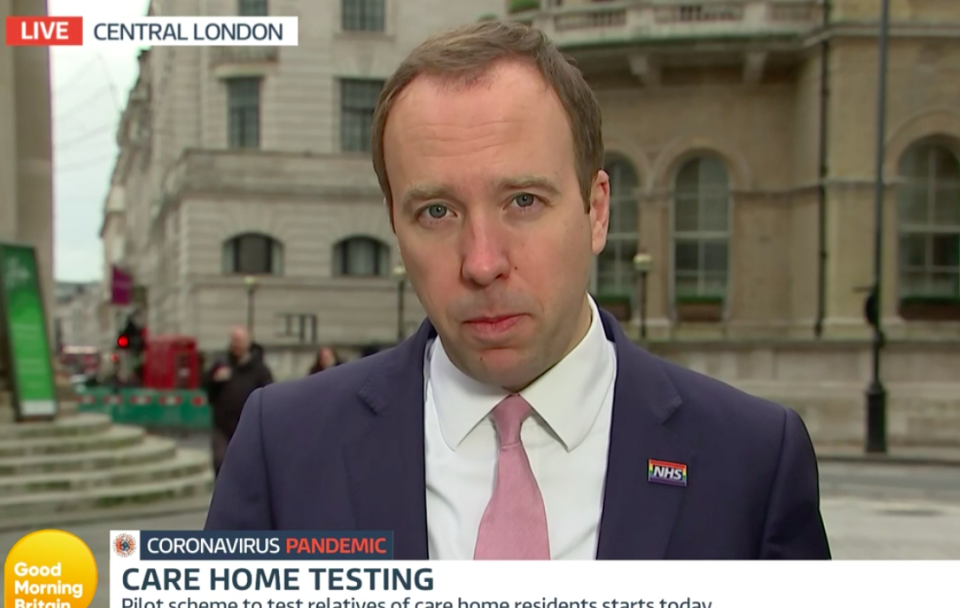 Health secretary Matt Hancock was the first government minister to appear on Good Morning Britain for 201 days. (ITV)