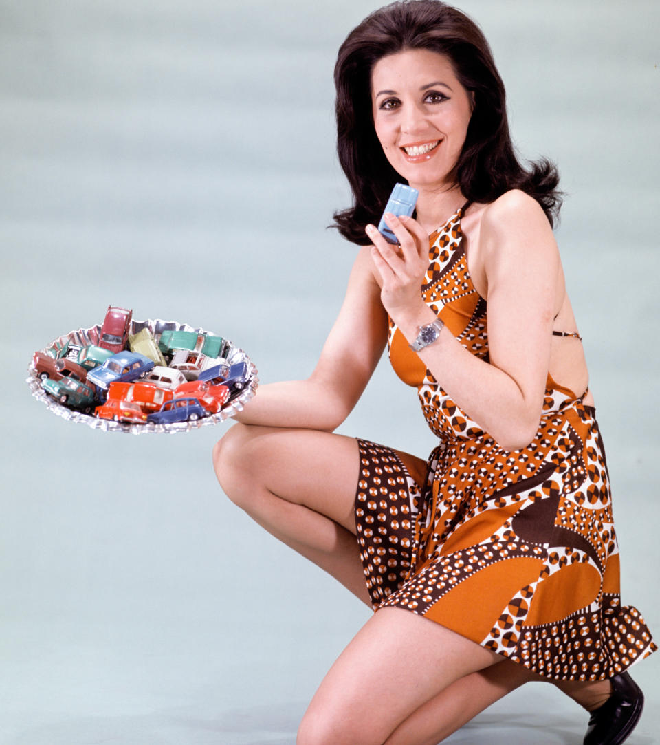 The Spanish actress Concha Velasco with some miniature cars, 28th March 1972, Madrid, Spain. (Photo by Gianni Ferrari/Cover/Getty Images).