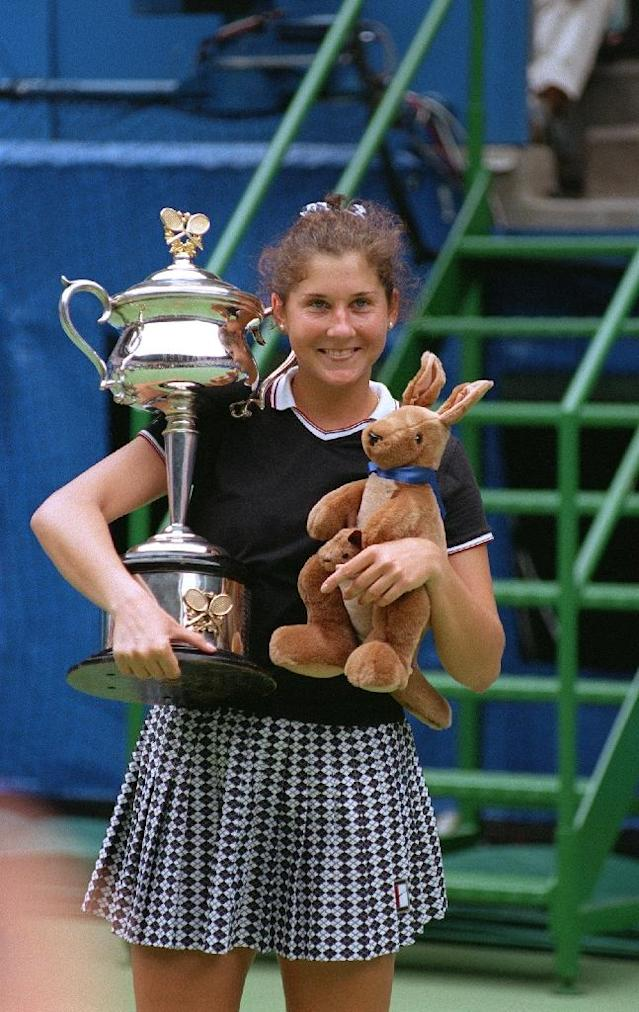 Monica Seles won the Australian Open three years after being stabbed by a crazed fan in Hamburg (AFP Photo/Greg Wood)