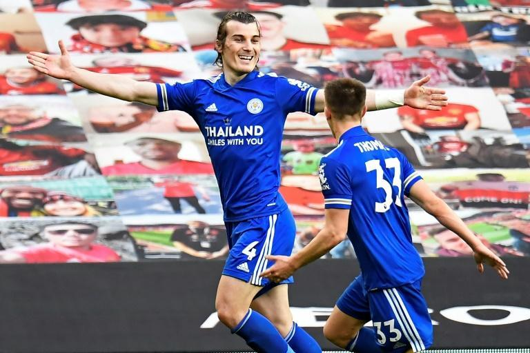 Foxes on the run - Leicester defender Caglar Soyuncu (L) celebrates with Luke Thomas (R) after scoring the winner in a 2-1 victory away to Manchester United