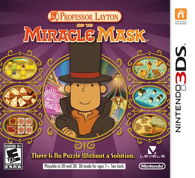 "This undated publicity photo provided by Nintendo of America, Inc. shows the box cover for ""Professor Layton and the Miracle Mask,"" a game for Nintendo's handheld 3DS gaming system. In the game, Professor Layton and his assistants explore the fictional city of Monte d'Or as the player solves puzzles and tracks down a mysterious figure who has turned some residents of the city into stone. The game is rated ""E"" for everyone. (AP Photo/Nintendo of America, Inc.)"