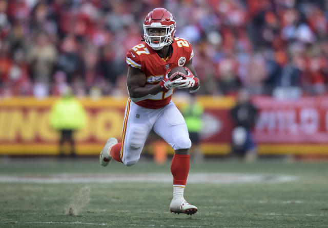 Chiefs Pro Bowl running back Kareem Hunt had just five carries after the first quarter versus Tennessee. (AP Photo/Reed Hoffmann)