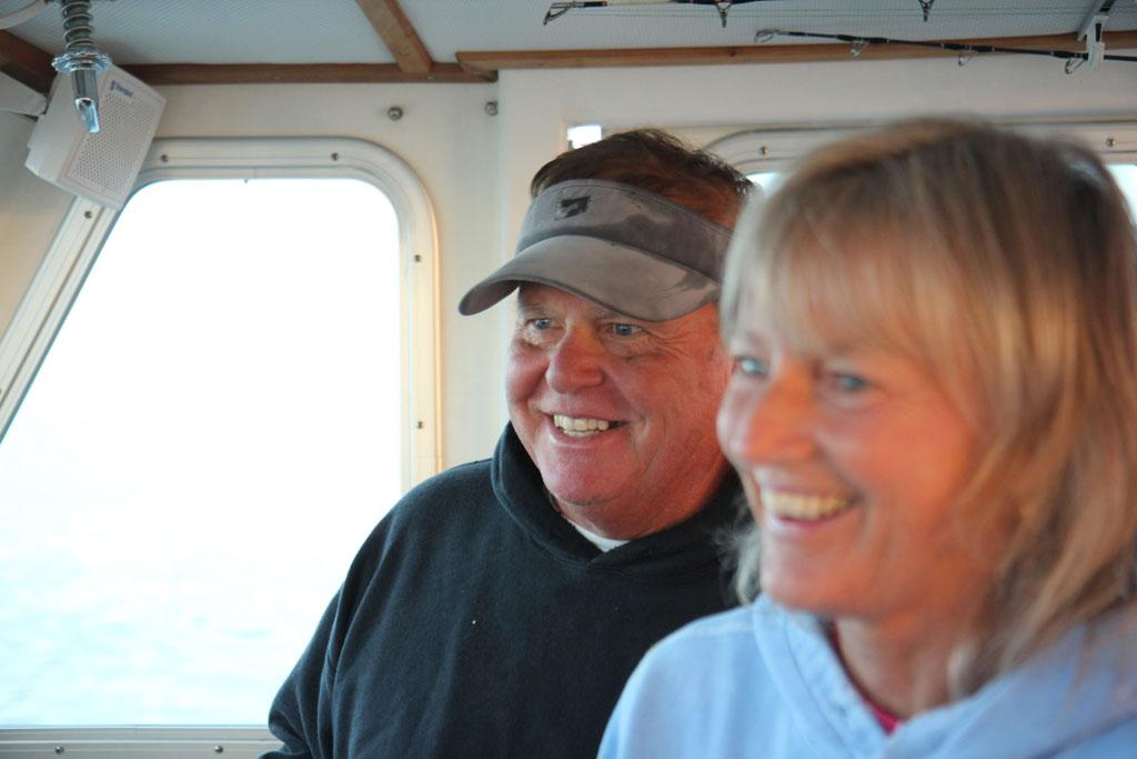 Gloucester, MA - Captain Bill Monte and Deckhand Donna Monte in the Bounty Hunter wheelhouse.