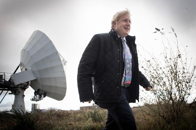 Prime Minister Boris Johnson visits the Goonhilly Earth Station, near Helston in Cornwall, whilst on the General Election campaign trail. PA Photo. Picture date: Wednesday November 27, 2019. See PA story POLITICS Election. Photo credit should read: Stefan Rousseau/PA Wire