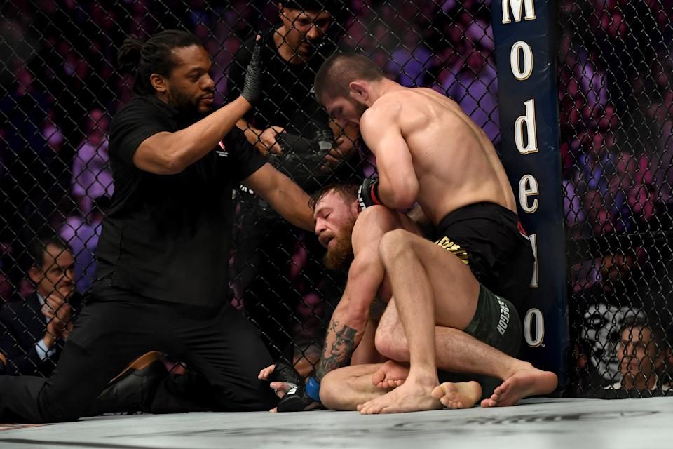 LAS VEGAS, CA - OCTOBER 06: Referee Herb Dean steps in to stop Khabib Nurmagomedov after Conor McGregor tapped out during their fight at UFC 229 at the T-Mobile Arena in Las Vegas, Nev. Friday, Oct. 6, 2018. (Photo by Hans Gutknecht/Digital First Media/Los Angeles Daily News via Getty Images)